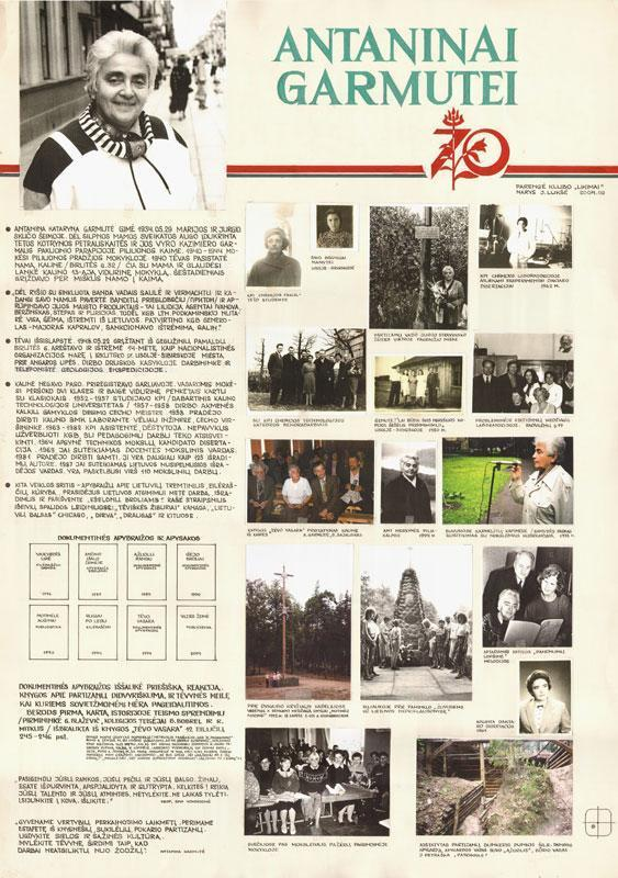 Teminis plakatas Antaninai Garmutei