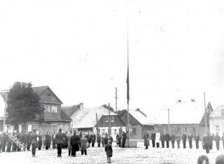 Prienų miestelio aikštė. 1932 m.