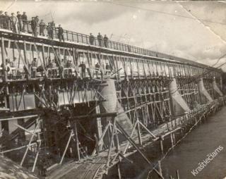 Prienų tilto statybos. 1938 m.